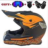 Erwachsene Motorrad-Motocross Motorbike Helme D.O.T Standard Children Quad Bike ATV Go Karting Helm (Handschuhe, Brille, Maske, 4 Set) (S, M, L, XL, XXL),L