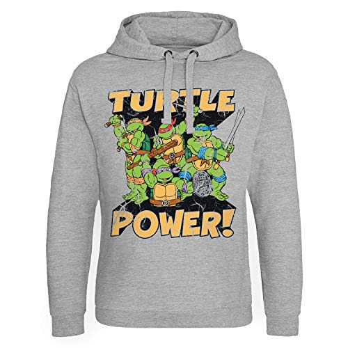 Teenage Mutant Ninja Turtles Offizielles TMNT - Turtle Power! Epic Hoodie Gr. Medium, grau meliert