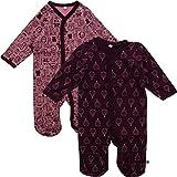 Pippi 2er Pack Baby Mädchen Schlafstrampler mit Aufdruck, Langarm mit Füßen, Alter 9-12 Monate, Größe: 80, Farbe: Lila, 3821