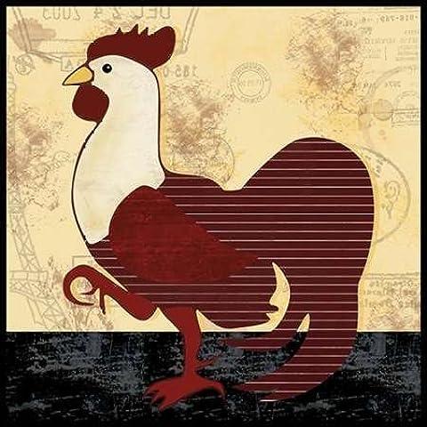 Impresión de Arte Fino en lienzo : A Vertical Rooster by Gibbons, Lauren - Grande (51 x 51 Cms)