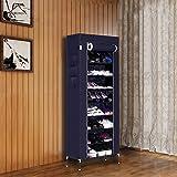 Homdox Schuhschrank Neu Schuhständer Regal Haus Bewegliche mit 10 Schichten 9 Gitter 6 Taschen (Marineblau)