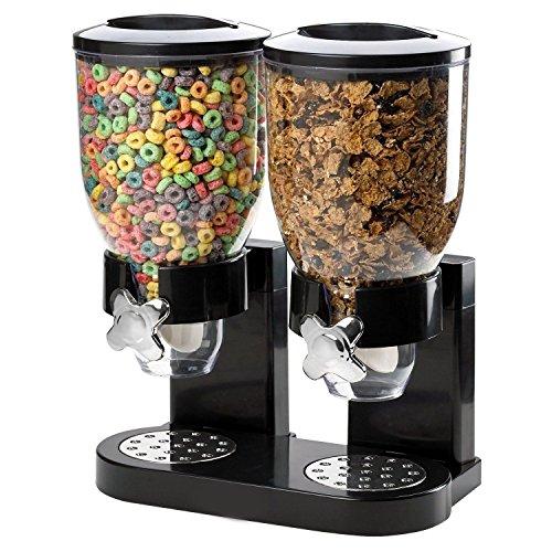 Doppelte Cerealienspender Doppelkanister trockene Lebensmittel, Kunststoff, klar Kanister Candy Nüssen Bohnen Aufbewahrung schwarz
