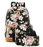 Schulrucksack Mädchen Schultasche Jugendliche Canvas Rucksack Set (Schwarze Blume)