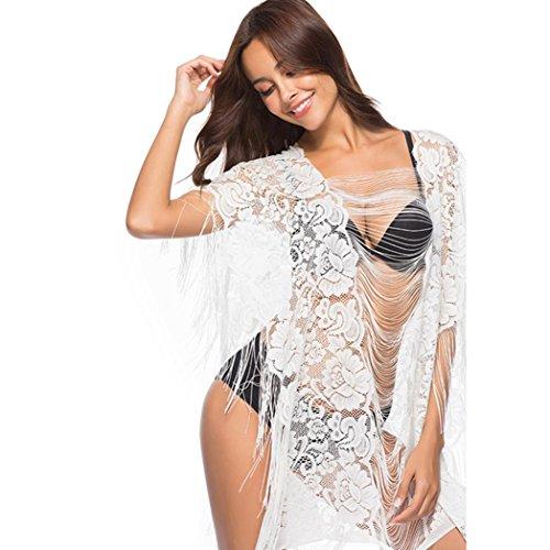Trada Fashion Reizvolle Cover up Swimwear, Frauen die Reizvolle Bikini-Spitze-Lose Häkelarbeit-Kittel-Strand-Fransenstrand-Vertuschung Beachwear Baden Bluse Vertuschung Bademode (Free, Weiß)
