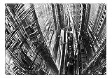 Startonight Leinwand Wand Kunst Schwarz und Weiß Grunge städtischen, Doppelansicht Überraschung Modernes Dekor Kunstwerk Gerahmte Wand Kunst 100% Ursprüngliche Fertig zum Aufhängen 60 x 90 CM