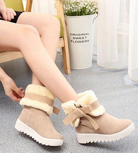 Femmes Hiver Doux Bowknot Décoration Bottes De Neige Courtes Doublure Chaud Peluche Chaussures Plates Antidérapant Bottines Kaki