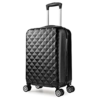 PARTYPRINCE Maleta cabina 57 cm rígida policarbonato abs diamante equipaje rigida con ruedas Negro