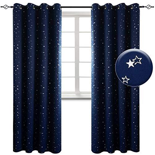 Tende oscurante tenda termica con occhielli drappeggi per finestre a drappeggio soggiorno camera da letto 100% poliestere 2 pannelli(140 x 245cm(l×a),blu marino)