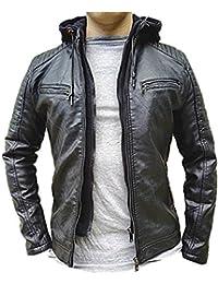 0096fc3f9ebb8 Manteau Homme Veste Hiver Simili Cuir Blouson Jacket Capuche Fourrure  LP5538 Noir