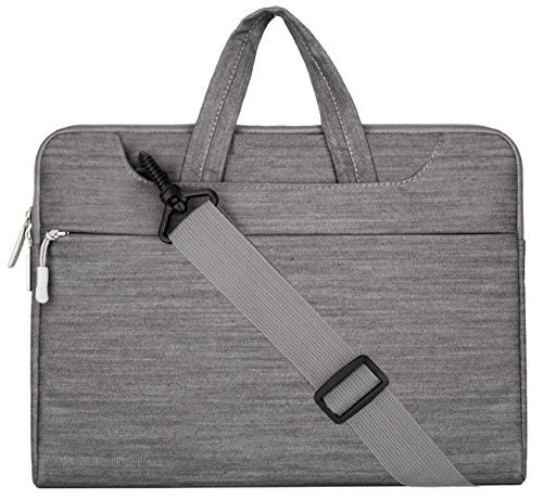 MOSISO Notebooktasche Kompatibel 13-13,3 Zoll MacBook Pro, MacBook Air, Notebook Computer, Denim Stoff Laptop Schultertasche Sleeve Hülle Umhängetasche mit Griff und Gurt, Grau