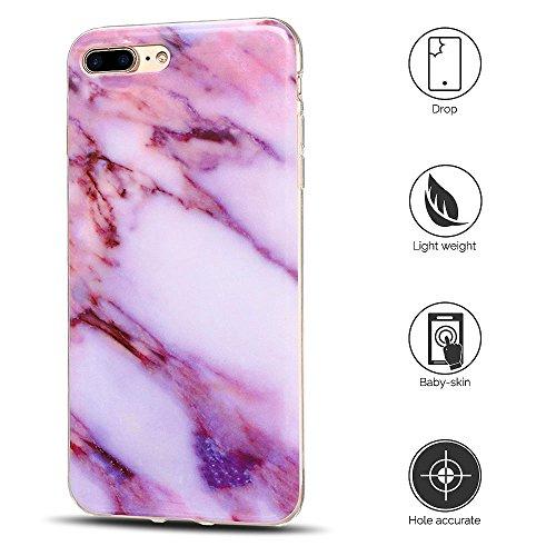 Coque iPhone 7 Plus , Etui iPhone 8 Plus , Anfire Motif de Marbre Souple TPU Case Silicone Slim Étui de Protection Flexible Soft Cover Anti Choc Ultra Mince Integrale Couverture Bumper Caoutchouc Gel  Violet et Blanc