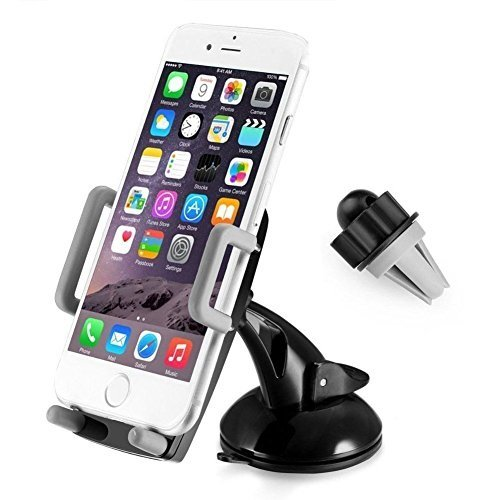 3 in 1 Universal Mobile Phone car holder 360 degree rotation Dashboard, Air Vent and Windscreen Car Holder / Mount Cradle / Works on Dashboard / Air Vent and Windscreen, Car Mount Holder Cradle for iPhone, Samsung, Google, HTC, Motorola, Nokia, LG and oth