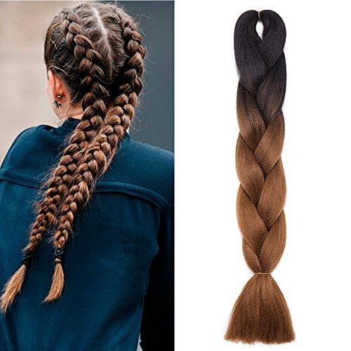 100g 1 bundle treccia capelli extension sintetici lunghi 60cm 24