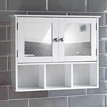 Home Discount Milano Double Door Mirrored Bathroom Cabinet Storage Shelves Wall Mounted White