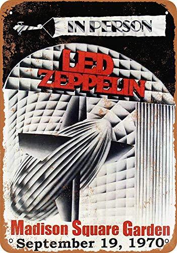 Garden Club Teller (HiSign Led Zeppelin at Madison Square Garden Vintage Blechschild Antike Metall gemälde Retro Wandschild Teller Poster Kaffee-Dekoration für Zuhause Club Bar Café Hotel)