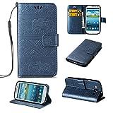 JEEXIA Custodia in Pelle per Samsung Galaxy S3 (i9300 4.8') / Galaxy S3 Neo, Retro PU Pelle Flip Cover con Funzione di con Supporto Fondina per Portafogli Stile Classico Elefante - Blu