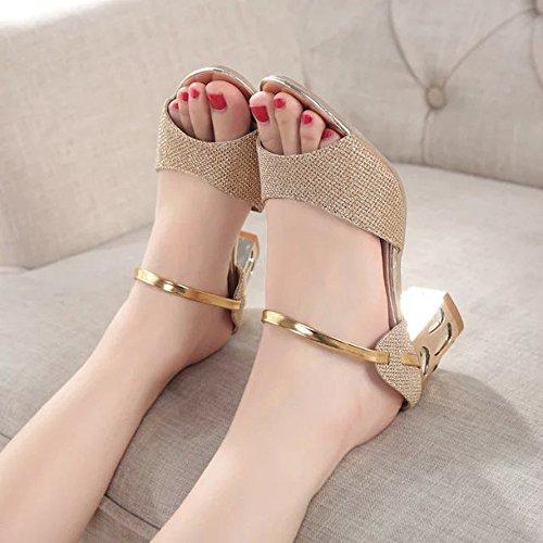 ♥ Loveso ♥ Damenschuhe 2017 Frau Sommer Open Toe Fisch Mund Sandalen High Heel Bequeme Schuhe Sandale Golden