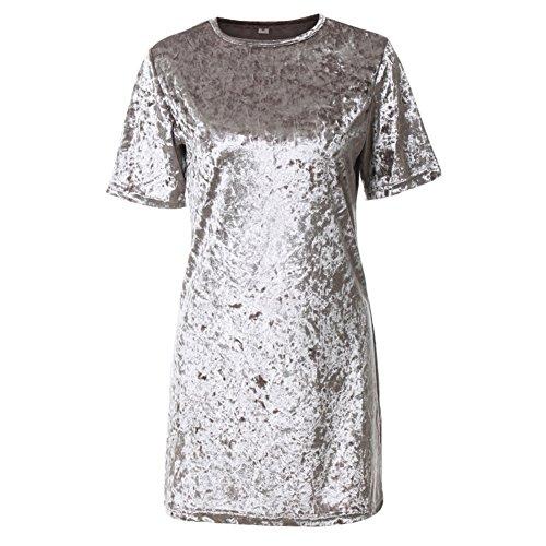 Juleya T-Shirt Kleid - Mode Damen Charming Soft Samt Cocktailkleid Glänzend Minikleid für Hochzeit Festlich Pailletten Kleid Kurzarm Bodycon...