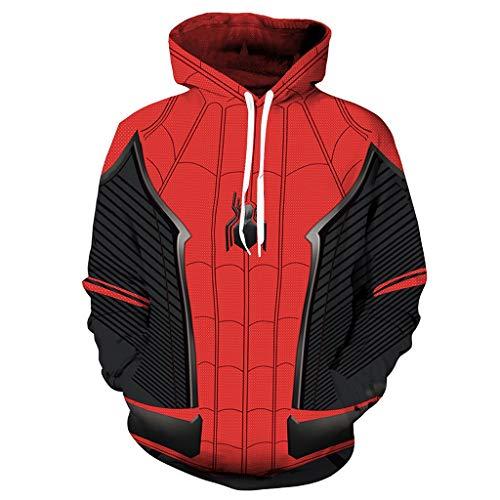 Alaeo Der Spider-Man der Männer Weinlese-Hoodie-Pullover Unisex Langarm mit Känguru Tasche Halloween Cosplay Kostüm Warm Damen Sport Sweatshirt,Red1,4XL (Der Punisher Cosplay Kostüm)
