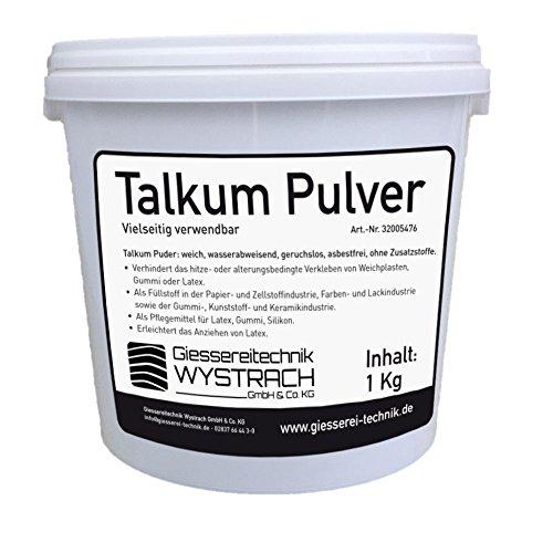 GTW Talkum Puder (Formpuder/Trennmittel) 1kg Eimer Gummipflege Reifenmontage Werkstatt, Latexpuder Anziehhilfe Latex, Talcum Powder Weiß (Talkum-pulver)