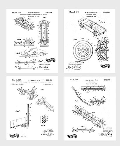 Wall Art Home Decor Mattel Hot Wheels Patent Poster Prints Set of 4 Size A4 (21cm x 29xm) Unframed for Mattel Hot Wheels Lovers N2 ...