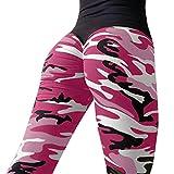 Drucken Camo Leggings Damen Yoga Hosen,Mode Leggings Sport Gym Jogging Yoga Sporthose Hohe Taille Sporthosen Super für Fitness, Laufen, Yoga, Workout (L, Heiß Rosa)