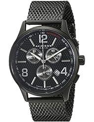 Akribos XXIV Herren-Armbanduhr Men'S Quartz Stainless Steel Mesh Bracelet Watch Analog Quarz AK719BK