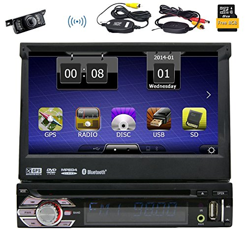 EinCar Wireless Backup Kamera Universal Single 1DIN 17,8cm motorisiert HD Touchscreen Auto Stereo Autoradio GPS CD DVD Player Empfänger, Bluetooth, abnehmbare Front Panel mit gratis 8gb karte