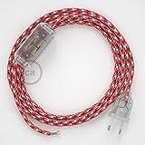 Creative-Cables Cableado para lámpara, Cable RP09 Efecto Seda Bicolor Blanco-Rojo 1,8m. Elige tu el Color de la Clavija y del Interruptor! - Transpare