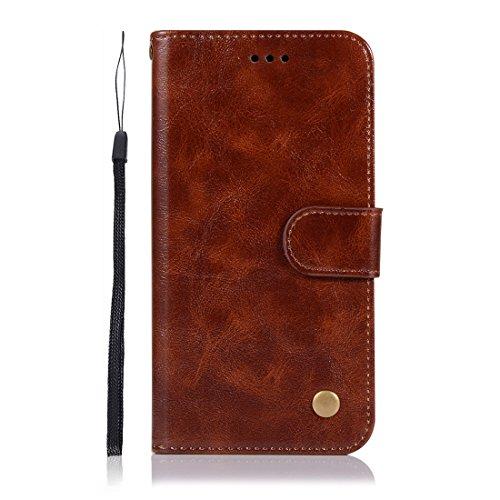 Chreey Huawei P20 Hülle, Premium Handyhülle Tasche Leder Flip Case Brieftasche Etui Schutzhülle Ledertasche, Braun