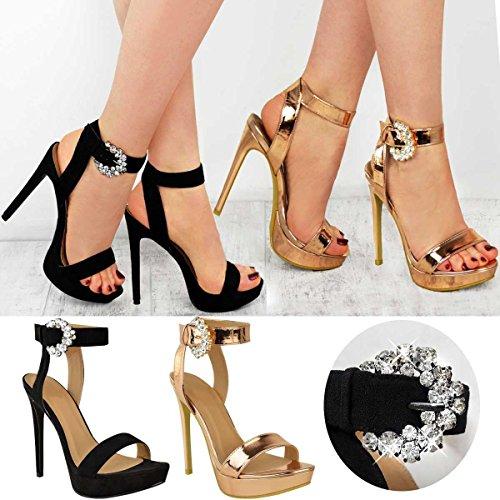 Fashion Thirsty Sandales à Talons Aiguilles Hauts - Semelle Compensée/Strass/Brillant - Femme