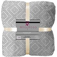 Mila Rosa Alpes Plaid, Poliéster, Gris, Individual, 130x160x2 cm