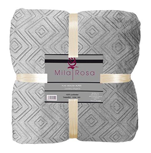 Mila Rosa Alpes Plaid, Poliéster, Gris, Individual, 130 x 160 cm