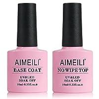 AIMEILI No Wipe Top and Base Coat Gel Nail Polish Set Kit Soak Off UV LED Gel Nail Varnish Lacquer 2×10ml