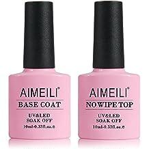 AIMEILI Base y Top Coat Semipermanente Esmalte UV LED Kit de Uñas de Gel de Regalo Para Manicura y Pedicura- 2 x 10ml