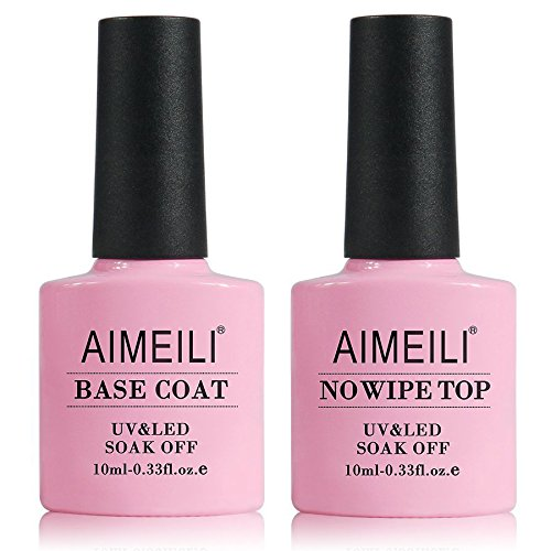 AIMEILI No Wipe Top and Base Coat Gel Nagellack UV LED Gellack Unterlack & Überlack Set Kit Gel Polish 2×10ml
