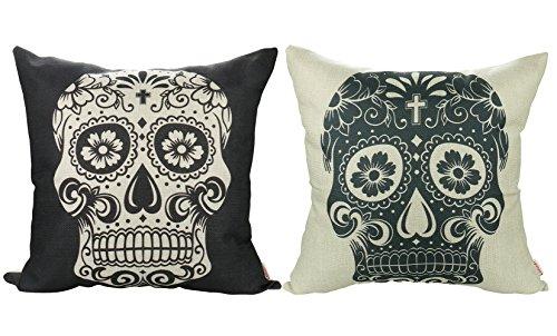Luxbon 2 Funda de Cojín Almohada Halloween Calavera Esqueleto...