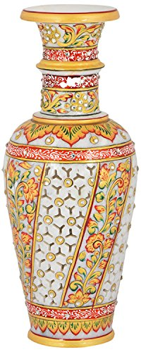 Saudeep India Trading Corporation Marble Flower Pot With Jali Cut (30 cm)