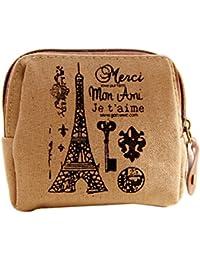 BESTOYARD Monedero de la vendimia de las muchachas de la lona del monedero de la cremallera mini pequeño bolso de la bolsa del sostenedor de la bolsa del dinero de las bolsas de regalo (Merci Mon Ami)