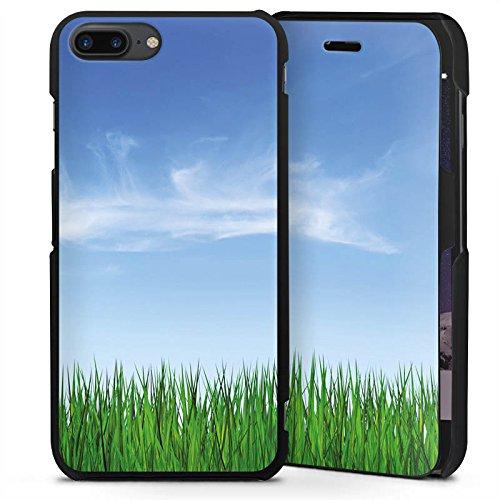 Apple iPhone 8 Plus Handyhülle mit Klappfunktion schwarz Lederhülle Flip Case Wiese Horizont Gras