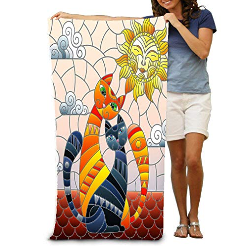 zexuandiy Adult Soft Microfiber Printed Beach Towel Swimming,surf,Gym,Spa 80cmx130cm/ 31x51 in Stained Glass Couple Cats Sitting roof Against Cloudy Sky Sun Couple Cats Stained Fantasy