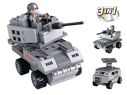 Funstones - Baustein Set 3 in 1 Army Armee Panzer Wage Radar + Soldaten Bausteine Bausatz Set
