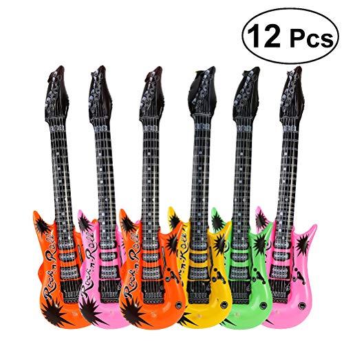 STOBOK Aufblasbare Gitarre Folie Ballon Rock Star Spielzeug für Hochzeit Geburtstag Party Dekoration (zufällige Farbe) 12st
