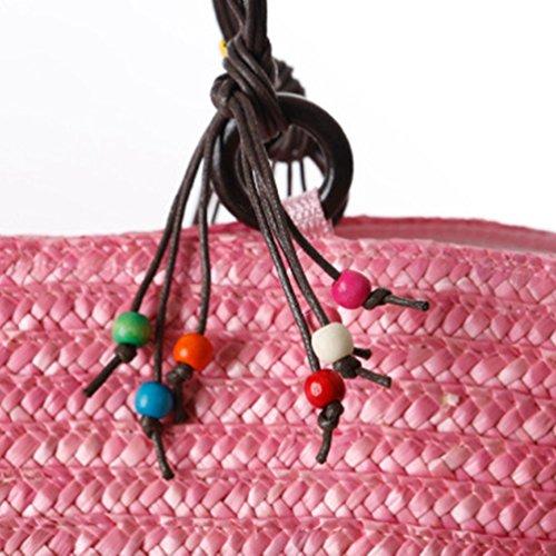 YOUJIA Damen Strandtaschen Stroh Taschen Totes Blumen Handtaschen Shopper Boho Schultertaschen #2 Pink