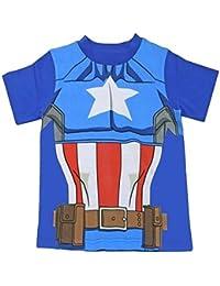 Disney Captain America T-Shirt Official Marvel Avengers Kids Costume Clothing (6-7 Years, Captain America 91616)