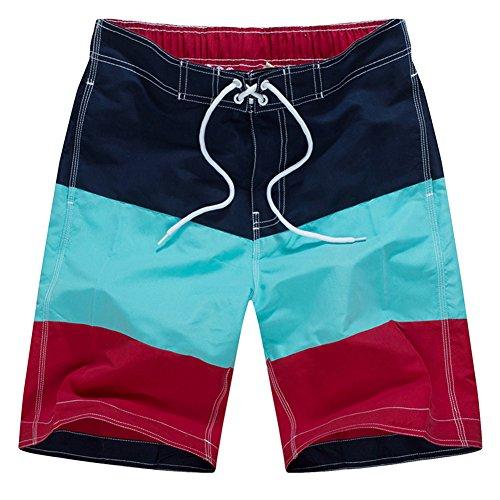 Huntvp Männer Bermudashorts Strand Board Shorts Surf Swim Volley Runner Hybrid Farbe Stripes Badehose Oranja
