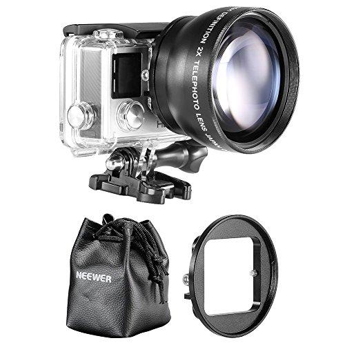 Galleria fotografica Neewer -  Kit Teleobiettivo 52MM per Gopro Hero 3+/4, Include Borsa per Lenti + 52mm Filtro Anello Adattatore + Panno di Pulizia in Microfibra