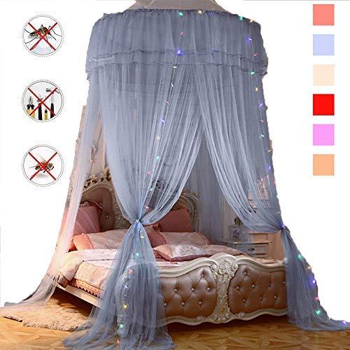 YSA Moskitonetz für Kinderbett, zusammenklappbare Hoop Sheer Bettpfosten Baldachin Twin Full Queen King geeignete Kinderbetten, Set, Lace Net Canopies, grau -