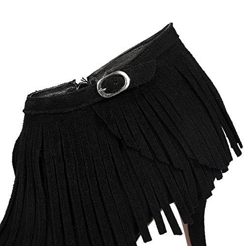 VogueZone009 Femme De Cheville Couleur Unie Zip Pointu Stylet Bottes Noir