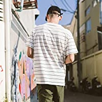 MN Camiseta de verano de manga corta a rayas con mangas de la camisa de manga corta para hombres,UN,XL